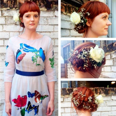 Wedding hair done at the klinik by Thea using plaits and flowers.
