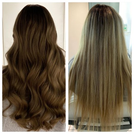 before and after photos with dark blond long hair coloured a rich brown colour.