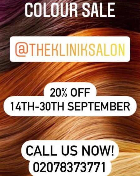 Colour Sale offer poster at the klinik hairdressing througout September.