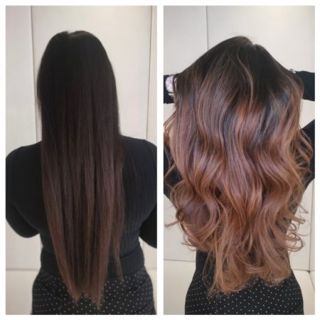 Long dark hair before and after done by Corina at the klinik salon London