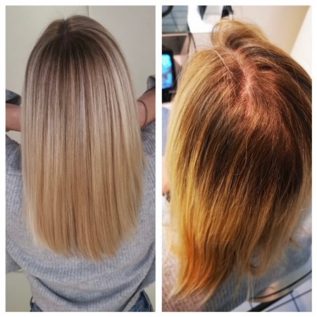 Before and after hair done by Corina at the klinik salon London