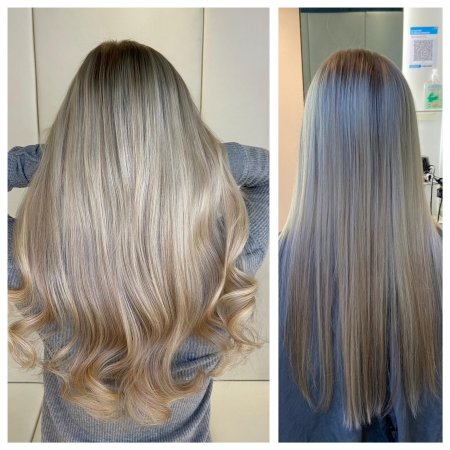 before and after seeing a hairextension transformation done by Leyla at the klinik salon London