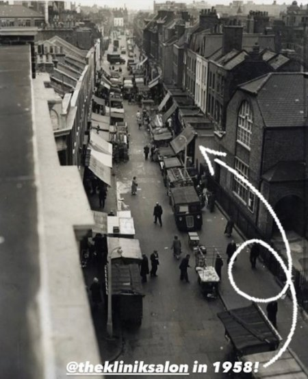 Exmouth Market in black and white from 1958