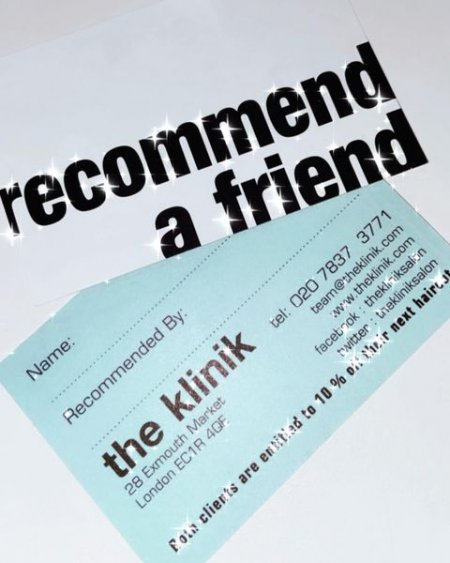 Recommend a friend cards at the klinik in white and blue text