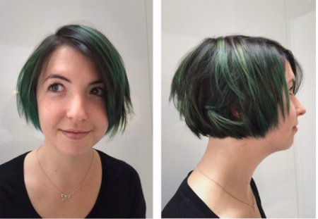 Dark hair has been highlighted and after applied with a dark grren colour