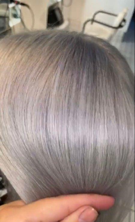Close up by a silver mauve haircolour at the klinik salon London