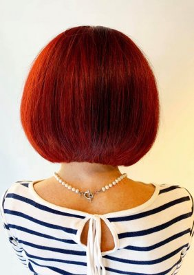 Red bob haircut cut with precision by Anna at the klinik salon London Exmouth Market