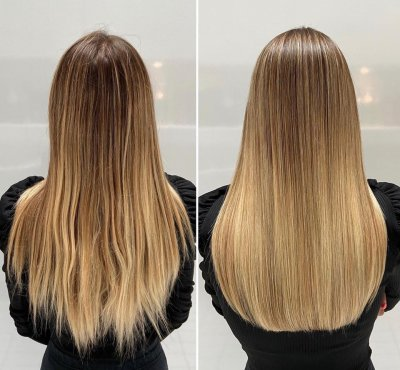 Girl with long hair showing it from frissy to smooth with a trim at the klinik salon London