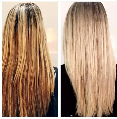 Long medium dark blond hair that has upgraded to an icy blonde with fine high lights done by Thea at the klinik salon in London
