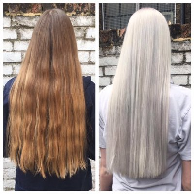 Natural blonde hair ha been transformed into a silver tone at the klinik salon by Thea
