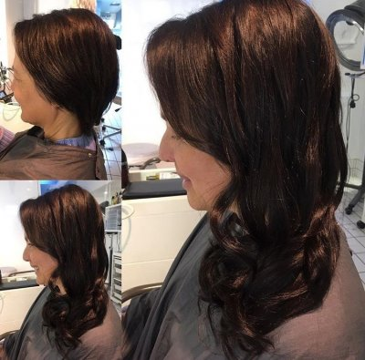 Short hair has been transformed into a longer looking length by Easilocks system. Done by Leyla at the klinik hairdressing London