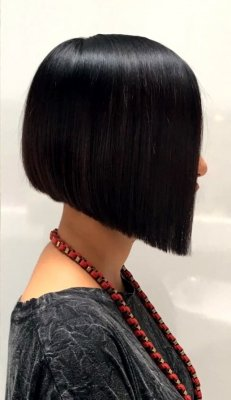 soft graduated bob that has a soft longer drop towards the face line done by Mark at the klinik hairdressing London