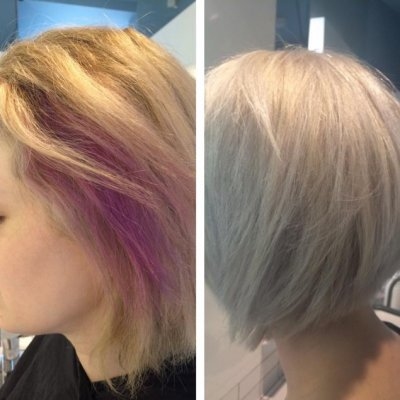 Cleanse pink hair to make way to create an  icy cool blonde using Olaplex