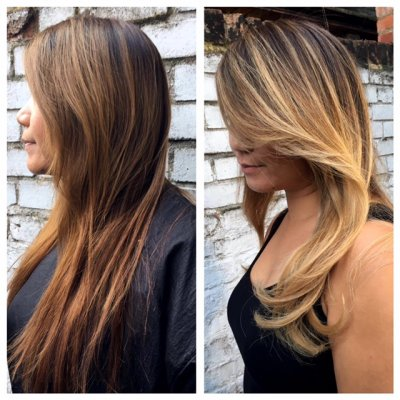 Hair going from Red brown to a blonde balayage by Thea at the klinik using Olaplex