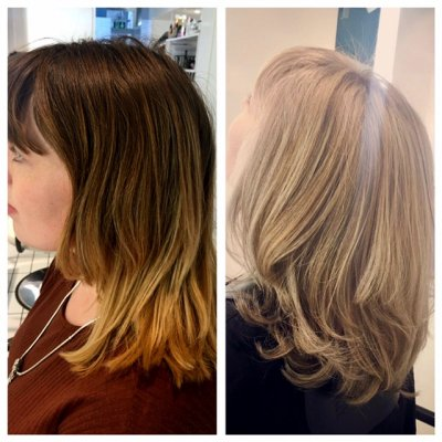 From dark blonde to light blonde by the kliniks graduate stylist Leyla using Olaplex