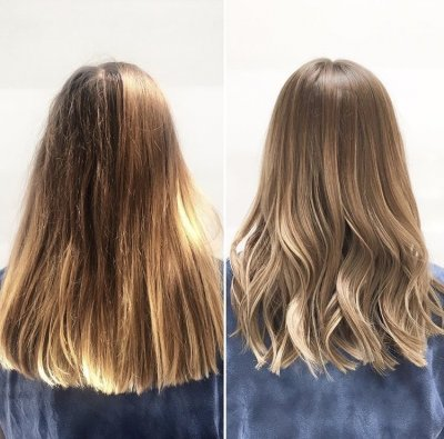 Brassy golden old colour has been recoloured into a beautiful ash blonde using Wella prelightener and olaplex and then toning it with Diarichesse by Leyla at the klinik hairdressing London