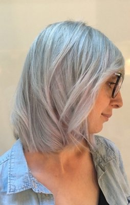 Hair being baby highlited and then toned with schwarzkopf silver to crreate a beautiful grey tone done by Thea at the klinik hairdressing London