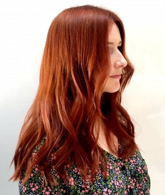 Hair being coloured a rich copper tone using ammonia free INOA colour by Loreal. Alla done by Mark at the klinik hairdressing in London