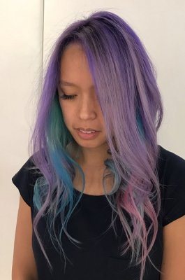 Hair being beautifully coloured into the mermaid colours using Manic Panic by Thea at the klinik salon London