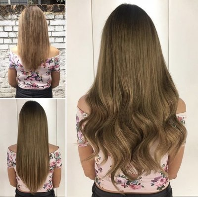 Short hair has been extended to long using the Easilocks system and all natural hair by Leyla at the klinik hairdressing London