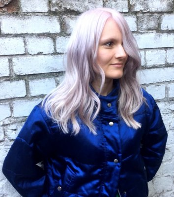 Mark has coloured his client a coolest blonde and toning it with the new Kenra range at the klinik hairdressing London