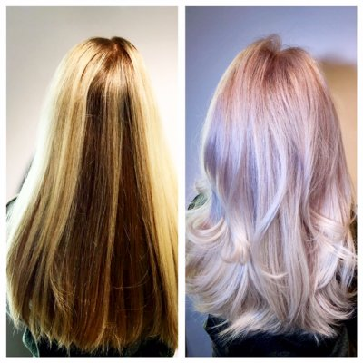 blonde hair taken to the next platinum level by Leyla at the klinik hairdressing London