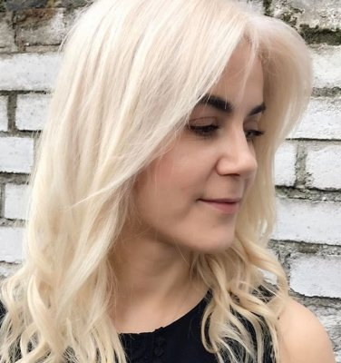 Hair has been pre lightened to a palest blonde with Wella blondor and Olaplex and then toned with L'Oreal dialight to create a natural pale blonde by Thea at the klinik hairdressing London