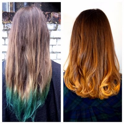 Green hair colour cleansed out to give a soft balayage using Olaplex at the klinik salon EC1R 4QE