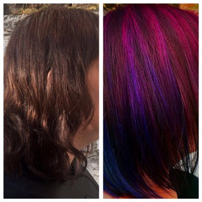 Brown hair going from purple to blue at the klinik salon london