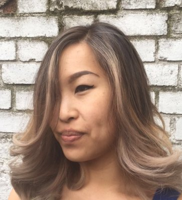 Oriental hair prelightened with Olaplex to push it to the highest blonde and still keep the condition.