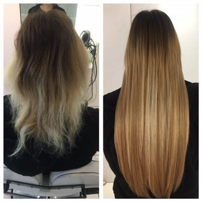 Short damaged hair beimng restored and lengthened by Easilocks system by Leyla at the klinik hairdressing London