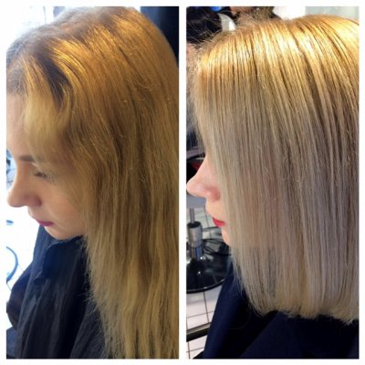 Dark blonde coloured to a clean blonde using Olaplex to maintain hairs condition throughout at the klinik hairdressing Islington