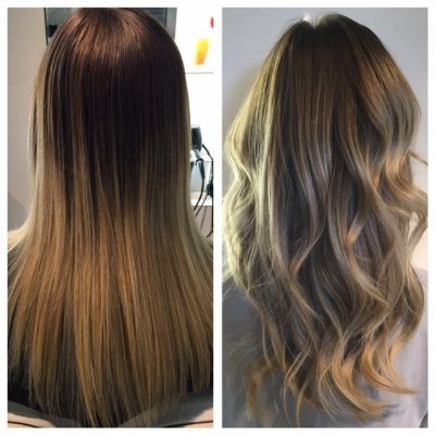 A dark blonde being improved by upgrading it to a icy cool blond using Olaplex at the klinik salon London by Leyla