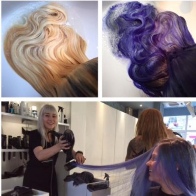 colourchange from blonde to Electric blue with help of Olaplex.