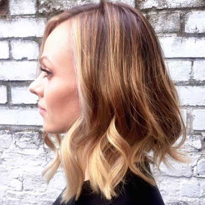 Dark blond hair has been coloured with a balayage technique using Wella Freelights and then tone it with a L'Oreal dia colour at the klinik hairsalon EC1R 4QE