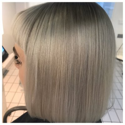 Short bob coloured into an ash ice blonde by Leyla at the klinik