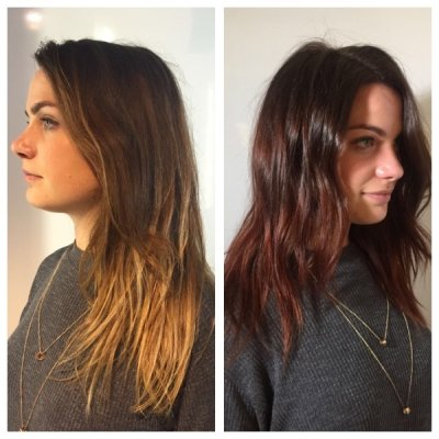 After wearing her hair in a balayage look for a long time, our client opted for a total all over colour to give a glossy rich brown.