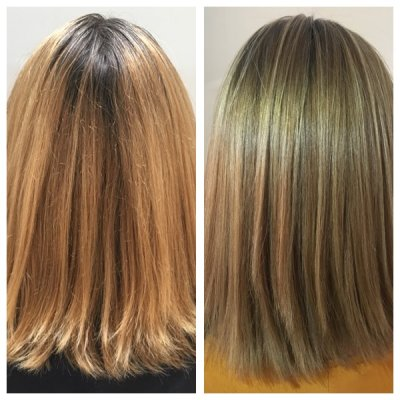 Hair that has been coloured at home with a box dye colour and when she come in to the salon she wanted it to be a more ntural finish in tones by Jenni at the klinik hairdressing London