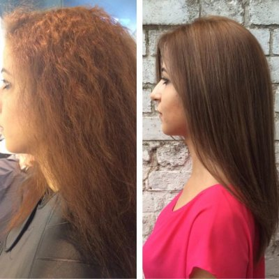 Colouring hair a natural brown using Olaplex to smooth hair down