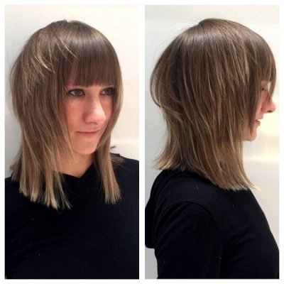 Hair cut by Mark at the klinik creating a mullet bob using overdirected round layers to add texture.