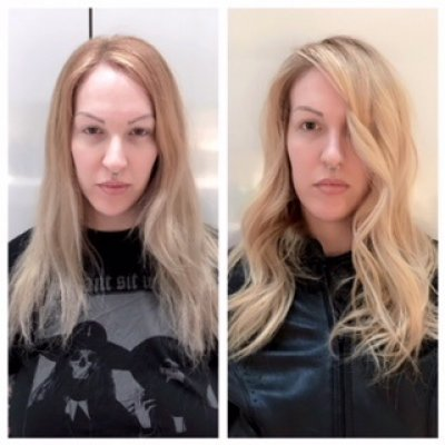 Blonde hair being balayaged and given a root drag to give a soft regrowth by Mark at the klinik hairsalon London