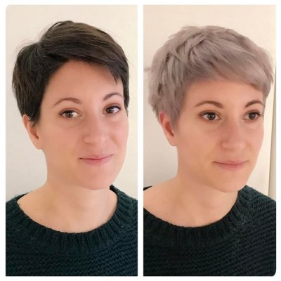 Dark hair transformation in one go with the amazing Kenra metallics range. Hair before and after going from dark to silver by Thea at the klinik salon London EC1R 4QE