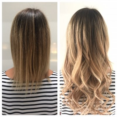 Hair being extended using Easilock system by Leyla at the klinik hairdressing. Using a total of 60 strands of Frosted Caramel Ombre, Biscuit and Sand/Vanilla.