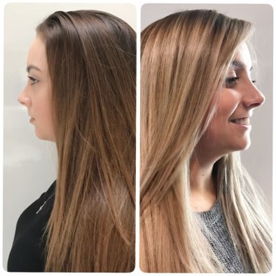 A dark blonde hair has been transformed into a natural sunkissed Balayage using Freelights and Olaplex by Thea at the klinik hairdressing London