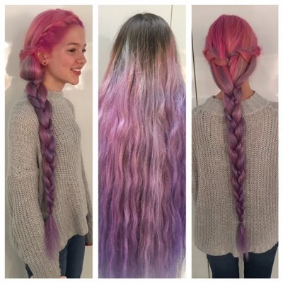 Pink blended in to purple, long hair at the klinik Farringdon, Islington