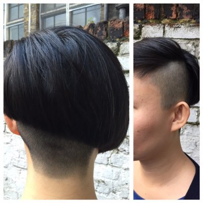 Asymetric short sharp bob with a multi wear fringe buy Jenni at the klinik in Farringdon London