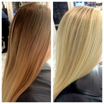 Medium blonde to a high lift blonde by Leyla at the klinik hairdressing London