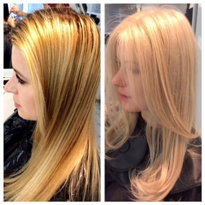 Golden blonde to a beige blonde done by Leyla at the klinik hairdressing