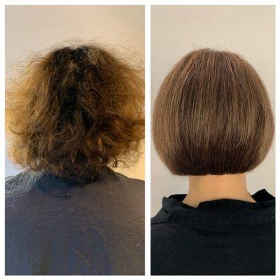 Frizzy hair to smooth hair cut into a bob by Anna at the klinik salon London
