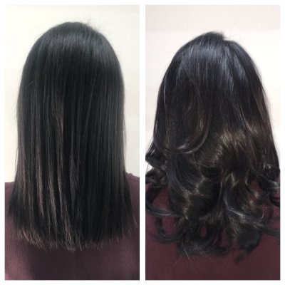Dark brown hair has been extended by adding 80 strands of Easilocks.